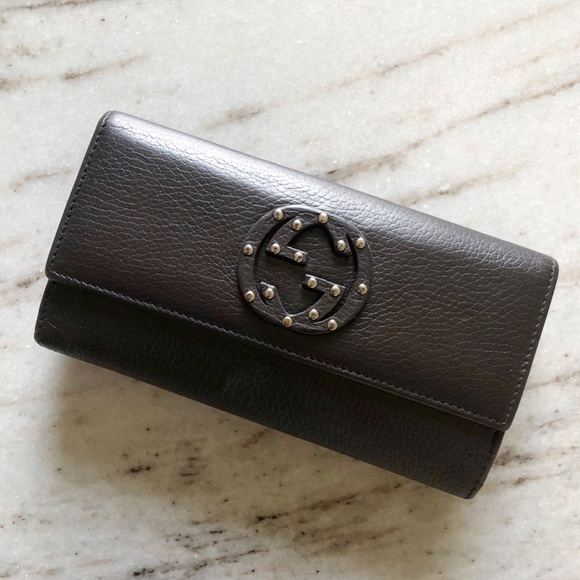 Gucci Handbags - GUCCI  Soho Studded Leather Flap Clutch Wallet